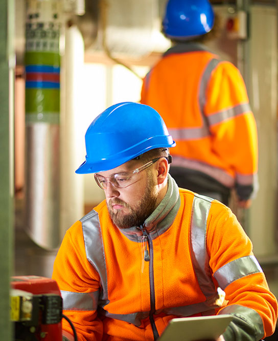 an authorized inspector from anchor risk solutions conducts an inspection of a company's boiler and pressure vessels to ensure they are compliant with the codes, acts and regulations stipulated by TSSA and RBQ
